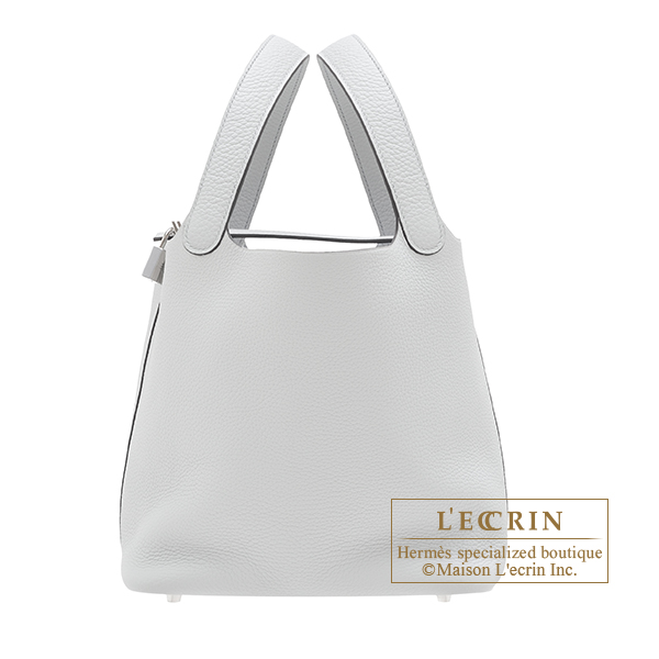 Hermes Picotin Lock bag MM Blue pale Clemence leather Silver hardware