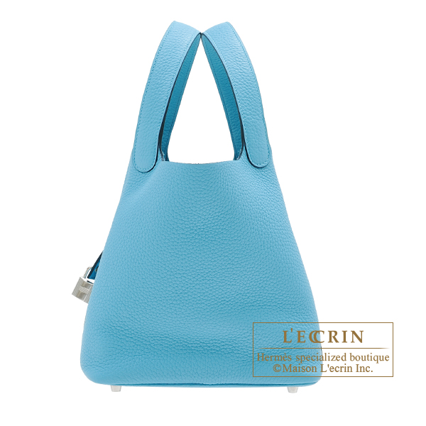 Hermes Picotin Lock bag MM Blue du nord Clemence leather Silver hardware