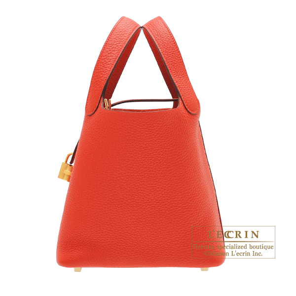 Hermes Picotin Lock bag PM Rouge tomate Clemence leather Gold hardware