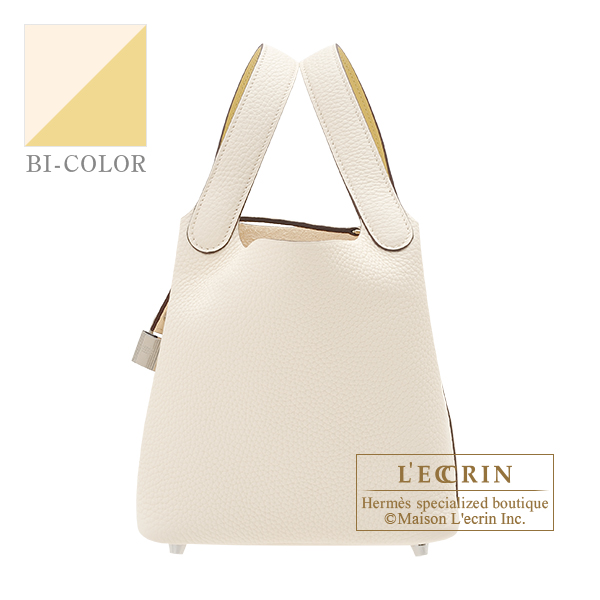 Hermes Picotin Lock Eclat bag PM Nata/ Jaune poussin Clemence leather/ Swift leather Silver hardware