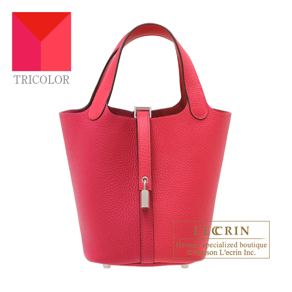 Hermes Picotin Lock casaque 2 bag PM Rose extreme/ Rose mexico/ Rouge coeur Clemence leather Silver hardware