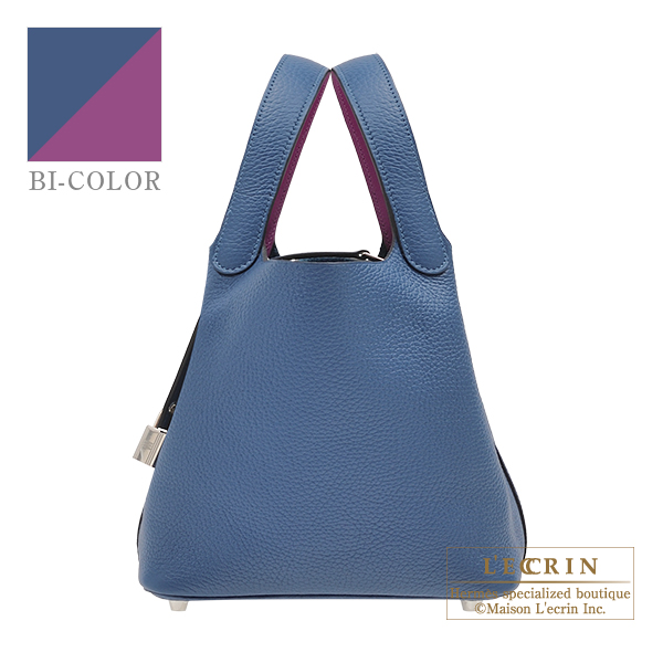 Hermes Picotin Lock Eclat bag PM Deep blue/ Anemone Clemence leather/ Swift leather Silver hardware