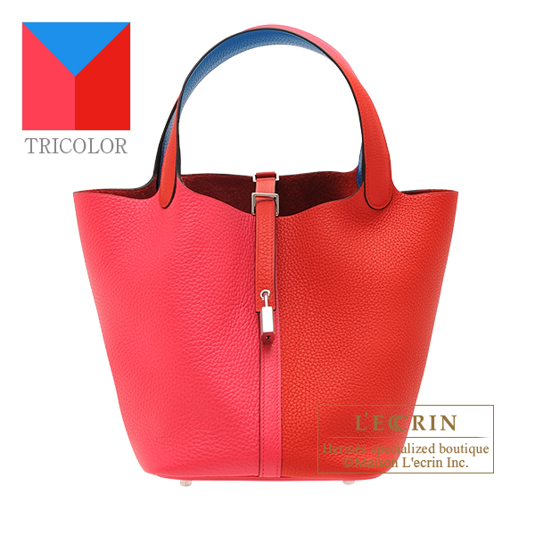 Hermes Picotin Lock casaque 2 bag MM Rouge coeur/ Rose extreme/ Blue zanzibar Clemence leather Silver hardware