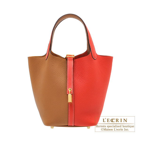Hermes Picotin Lock casaque bag PM Bi-color Rouge coeur/ Gold Clemence leather Gold hardware