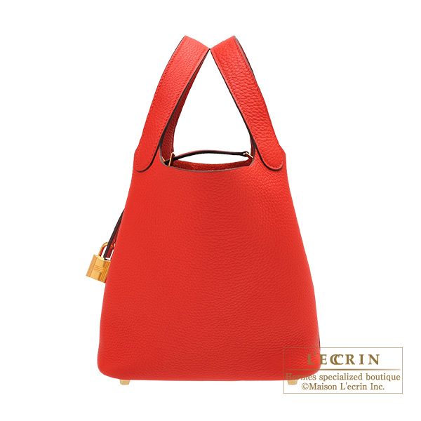 Hermes Picotin Lock bag PM Rouge coeur Clemence leather Gold hardware