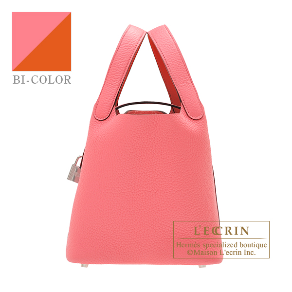 Hermes Picotin Lock Eclat bag PM Rose azalee/ Terre battue Clemence leather/Swift leather Silver hardware
