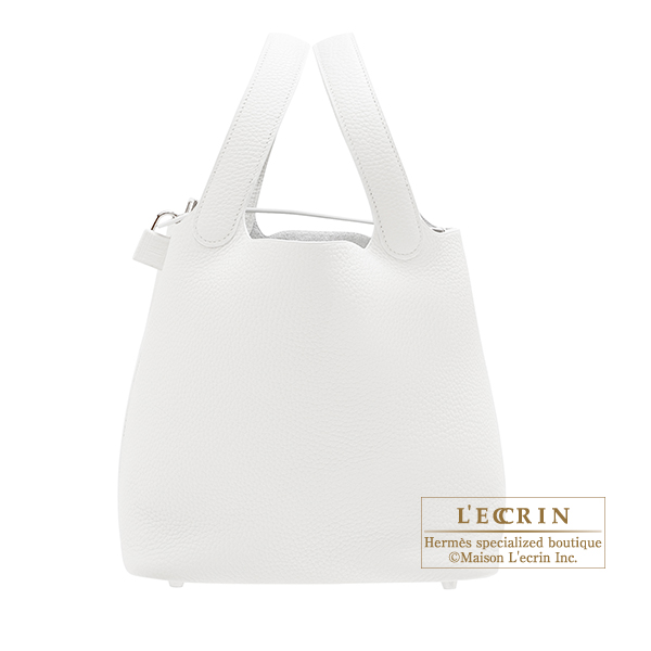 Hermes Picotin Lock bag MM White Clemence leather Silver hardware