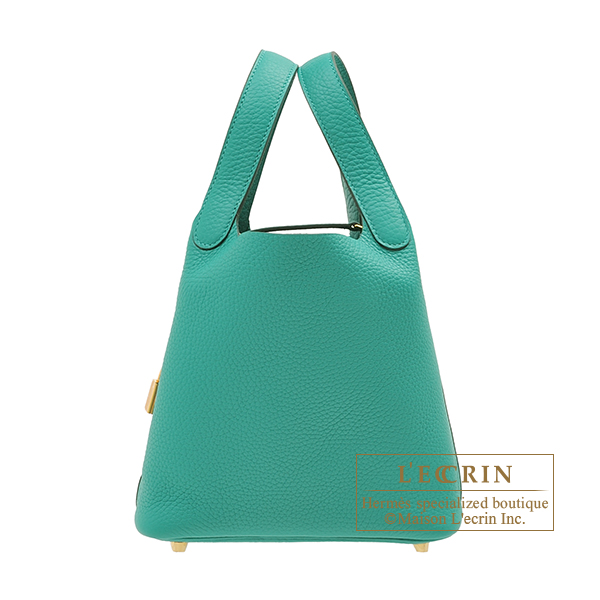 Hermes Picotin Lock bag PM Vert verone Clemence leather Gold hardware