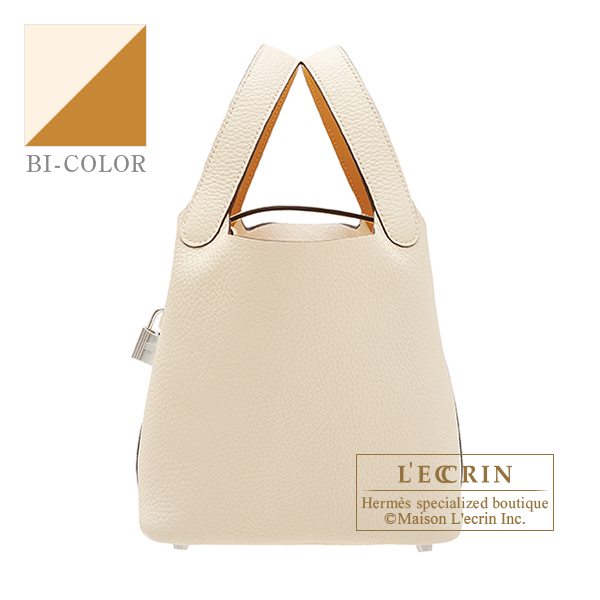 Hermes Picotin Lock Eclat bag PM Nata/Sesame Clemence leather/Swift leather Silver hardware