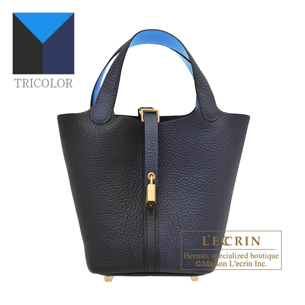 Hermes Picotin Lock casaque 2 bag PM Blue nuit/Black/Blue zanzibar Clemence leather Gold hardware