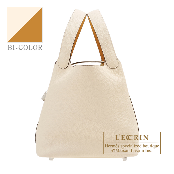 Hermes Picotin Lock Eclat bag MM Nata/Sesame Clemence leather/Swift leather Silver hardware