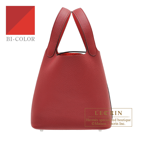 Hermes Picotin Lock Eclat bag MM Rouge grenat/ Rouge piment Clemence leather/ Swift leather Silver hardware