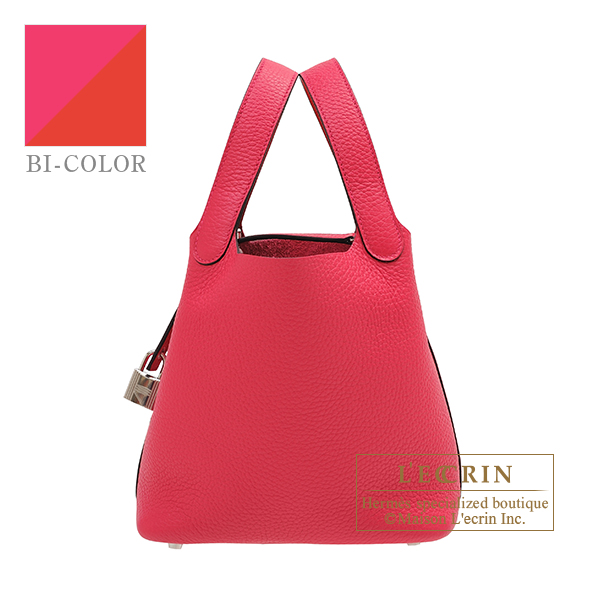 Hermes Picotin Lock Eclat bag PM Rose mexico/ Rouge coeur Clemence leather/ Swift leather Silver hardware